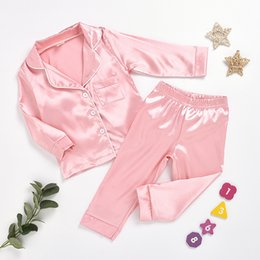 silk baby clothing Australia - Childrens pajamas set Baby suit Kids Clothes Toddler Boys Girls Cotton silk satin Solid Tops Pants Set home Wear