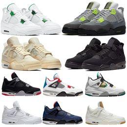 venda por atacado 2020 Novo 4 4s Jumpman Basketball Sapatos Metálicos Vermelho Roxo Verde Bred Ovo Splatter Black Cat O que os homens Mens Sport Sneakers