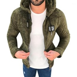 Discount double pocket coat for men Mens New Fashion Casual Zipper Loose Double-Sided Plush Hooded Jackets Autumn Male Outwear Coat With Pocket For 2019 Clothes1