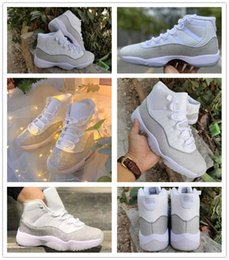 11 XI Infant White Vast Gray Silver Metallic Kids Basketball Shoes Youth Junior Women Children 11s Boys Girls Sneakers Sports Trainers