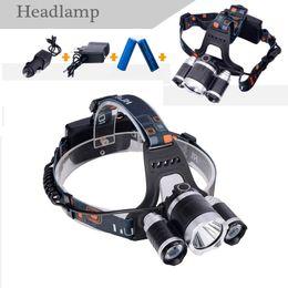 Atacado-2X18650Batteris + XML T6 Farol 6000 Lumens modo 4 LED acampamento lâmpada Led recarregável Hunting Spotlight Lamp Head Light em Promoção