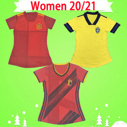 Wholesale sweden women for sale - Group buy WOMEN Belgium soccer jerseys red home HAZARD LUKAKU DE BRUYNE girls maillot de foot ladies Spain Sweden football shirts