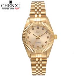 Chenxi Brand Top Luxury Ladies Gold Watch Golden Clock Female Women Dress Rhinestone Quartz Waterproof Watches Feminine on Sale