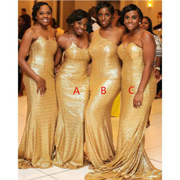 nigerian navy caps 2021 - Black Girls Nigerian African Mermaid Bridesmaid Dresses Gold Sequins Sweetheart One Shoulder Maid Of Honor Dresses 3 Styles Plus Size