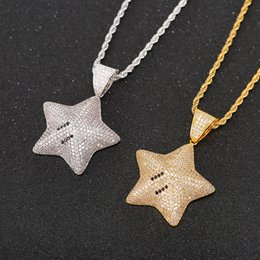 silver star pendant necklace NZ - Hip Hop Gold Silver Color Cubic Zircon Star pendant necklace For Men Iced Out Bling Jewelry