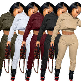 Wholesale womens sweats pants for sale - Group buy Sweatpants Womens Joggers Set Plain Logo Piece Crop Top Tracksuit Sets Women Sweat Pants Set Fall Two Piece Jogger with Hoodie