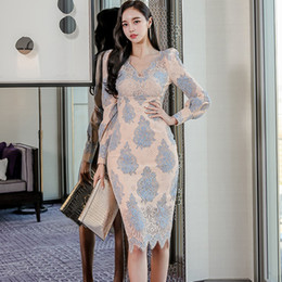 ingrosso neck bodycon pizzo blu v-Office Lady Dress Blue Beige V Collo in pizzo manica lunga Midi Slim BodyCon OL Fashion Party Donne Abiti