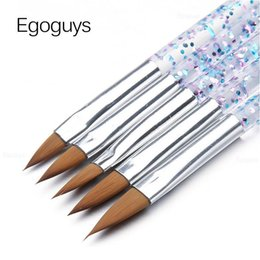glitter gel pens 2021 - 5pcs set Crystal Acrylic Glitter Nail Bristle Brush Pen Uv Gel Paintbrush Extension Builder Lines Flower Drawing Manicu qylBhc