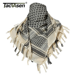 cotton head scarves Canada - TACVASEN Cotton Scarf Military Shemagh Tactical Airsoft Desert Keffiyeh Head Neck Scarf Arab Wrap with Tassel Paintball Gears Y201007