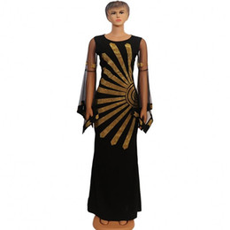 Discount dashiki pattern Black Diamonds New African Dashiki Flowers Pattern Maxi Dress Long Sleeve Casual African Dresses For Women Africa Clothing