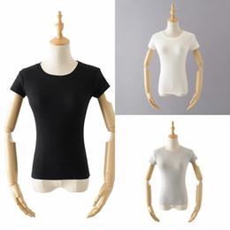 Wholesale stretch crew neck tees women online – design Basic short T T shirt summer new sexy slim slim stretch chest big bottomed shirt tee women KGV7g