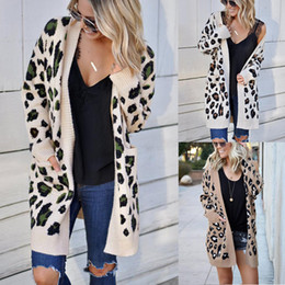 Wholesale leopard cardigans resale online - Leopard Cardigan Sweaters Womens Designer Long Sleeve Loose Sweater Coats Autumn Winter Fashion Casual Women Knits Clothing