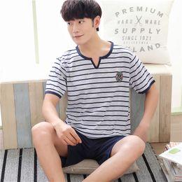 Wholesale pyjamas for mens resale online - Summer Cotton Short Sleeved Mens Pajamas Sets Male Pajama Set Casual Pajama For Men Sleepwear Suit Homewear Size XXXXL Pyjamas