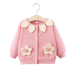 Discount toddler girl fall fashion Flower Coat Toddler Girls 2020 Fall Winter Fashion Cotton Soft Sweet Clothes Tops O-neck 0-5T Baby Girl Buttons Knit Car
