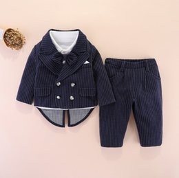 Wholesale birthday shirts for sale – custom Baby Boys th Birthday Suit Baby Kids Bows Tie Lapel Long Sleeve Shirt Stripe A suit Outwear Pants Children Gentleman Sets A4678