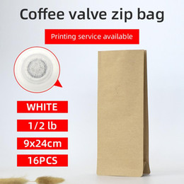bags square bottom NZ - 16pcs 1 2 pound 250g kraft parper coffee bean one side degassing valve packaging bag block bottom stand up coffee pouch