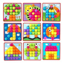 mushroom kids toy NZ - Kids 3D Puzzles Toy Colorful Buttons Assembling Mushrooms Nails Kit Baby Mosaic Composite Picture Puzzles Board Educational Toy Y200413