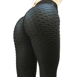 pantalones estándar al por mayor-Leggings Negros Mujeres Poliéster Tobillo Longitud Plegable Estándar Pantalones Elasticidad Mantenga Slim Push Up Fitness Female Legging
