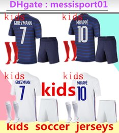 camisolas para rapazes venda por atacado-2020 France Boys Chandal Maillot de Foot francia enfant kids kit stars GRIEZMANN KANTE MBAPPE POGBA franca football French Soccer Jerseys