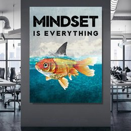 fish art paintings NZ - Wall Art Home Decoration Mindset Is Everything Canvas Print Painting Modular Fish Picture Posters Modern Living Room Framework