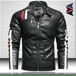Wholesale knit sleeve faux leather jacket resale online - Men Motorcycle Leather Jacket Trendy New Faux Leather Jacket Mens Bomber Jacket with Embroidery Epaulet Biker Leather Coat