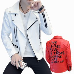 Wholesale knit sleeve faux leather jacket for sale - Group buy Fashion Spring Autumn Motorcycle Youth Slim Fit Oblique Zipper Faux Jacket Men Leather Jackets Coats