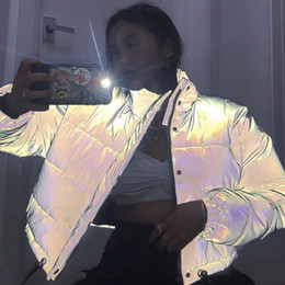 Wholesale Reflective Gray Zipper Oversized Women Jackets Long Sleeve Button Loose Thick Cropped Jacket Sexy Streetwear Coat Winter 2020