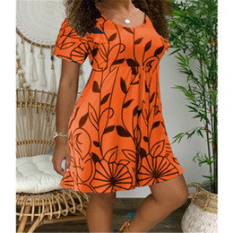 Discount flutter sleeve dress pattern Summer Fashion Trend Leaf Pattern Round Neck Dresses Designer Female Loose Casual High Waist Dress Ladies Slim Short Sle