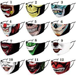Natal Halloween palhaço máscara facial rosto estilista máscaras impressa máscara à prova de poeira à prova de vento Partido Máscaras adulto com filtros PM2.5 em Promoção