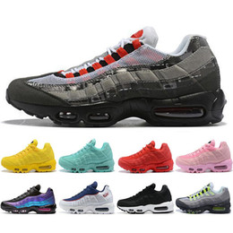 Wholesale 2020 Bred 95 OG White Gym Red University Gold Laser Fuchsia Men Running Shoes Triple Black 95s Mens Trainers Sports Sneakers Size 36-46