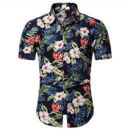 Wholesale men hawaii shirt for sale - Group buy Men Shirt Summer Style Palm Tree Print Beach Hawaiian Shirt Men Casual Short Sleeve Hawaii Chemise Homme Plus Size XL