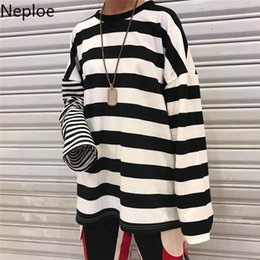 Wholesale vintage striped t shirt for sale - Group buy Neploe Loose Casual Vintage Striped Basic T Shirt Long Sleeve Female Women Basic T shirts Harajuku Streetwear Long Tops