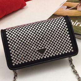 Wholesale woman cloths resale online - Drill Bag Chain Purse Shoulder Bags Fashion Nylon Cloth Hot Drill Removable Shoulder Strap Full Diamante Cowhide Handbag