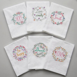 Embroidered Napkins Letter Cotton Tea Towels Absorbent Table Napkins Kitchen Use Handkerchief Boutique Wedding Cloth 5 Designs NWF1196 on Sale