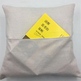 40*40cm Sublimation Blank Book Pocket Pillow Cover Solid Color DIY Polyester Linen Cushion Covers Home Decor on Sale