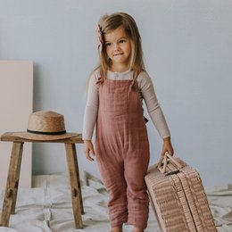 toddler pink overalls 2021 - BRG INS Australia Korean Style Baby Toddler Kids Overalls Organic Linen Cotton Newborn Jumpsuits Straps Belts Pants