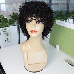 Kisshair Jerry Curl Kısa İnsan Saç Peruk Makinesi Yapılan Tutkalsız Peruk Kadınlar için Bouncy Kıvırcık Brezilyalı Saç Peruk