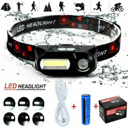 90°Degree Adjustable USB Rechargeable LED Headlamp XPE COB Outdoor Camping Hiking Headlight Torch 3Modes Flashlight Waterproof Portable on Sale