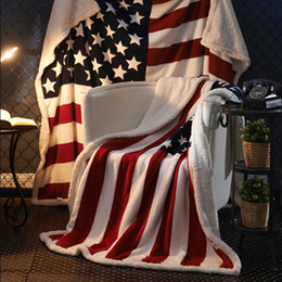 Double Layer Thick US UK Flag Fur Fleece Fabric Blanket Throw Blanket 130x160 cm