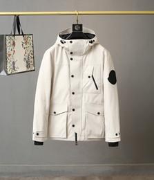Wholesale streetwear branding online – Brand Mens Down Jacket Designer Male Winter Warm Strips Zipper Hoodies Outerwear Fashion Bodywarmer Elastic Thick Stand Collar Coat Clothes