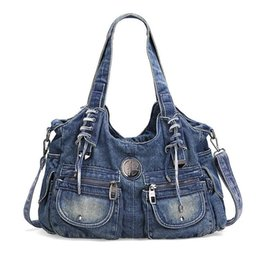 women jeans bags Australia - High quality Casual print denim shoulder bag high quality blue jeans handbag woman large capacity tote bags for travel