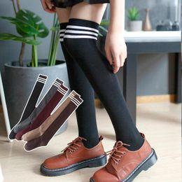 Wholesale korean women stockings resale online - high meia korean style women long high fall women s stockings knee striped sex cotton aestheticy e girl warm thigh ladies