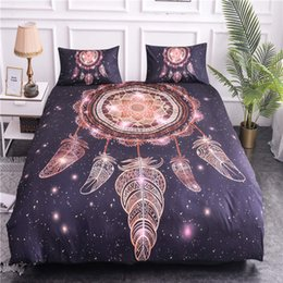 bohemian home decor NZ - ZEIMON Dream Catcher Printing Bedding Sets Bohemian 3D Duvet Cover With Pillowcase Microfiber Home Decor Feathers Bedclothes 1012