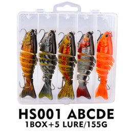 Discount trout bass fishing lures hard baits 5pcs box 15.5g 10cm Lure Multi 7 Sections Fishing Bait Fishing Lure Simulation Bait Hard Bait For Saltwater Freshwater T