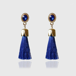 jewelry welding Canada - Ladies Alloy Rhinestone Trendy Jewelry Accessories for Women Welding Long Dangle Drop Bohemian Vintage Tassel Earrings Fringe1