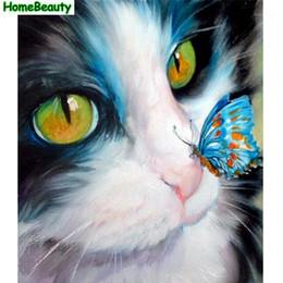 butterfly mirror wall art 2021 - Diy acrylic painting by numbers cat and butterfly canvas art oil pictures coloring by number wall decoration handpainted PH92201