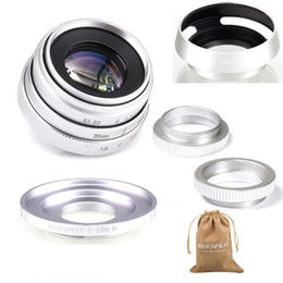 lens hood adapter Canada - Silver Mini 35mm f 1.6 APS-C CCTV Lens+adapter ring+2 Macro Ring+lens hood for Canon EF-M EOSM Mirroless Camera M1 M3 M51