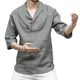 Wholesale linen shirts man resale online - 2020 Men s Shirt Fashion Casual Three Quarter Sleeve Solid Linen Slim Fit Loose Business Shirts V Neck Men Clothing