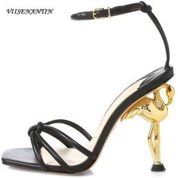 Open Toe Strange High Heel Gladiator Sandals Women Real Leather Buckle Strap Designer Pumps Party Wedding Black Zapatos