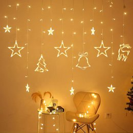 star moon curtain lights 2020 - 3.5M 220V LED Moon Star Lamp Christmas Garland String Lights Fairy Curtain Light For New Year Party Bar Wedding Holiday
